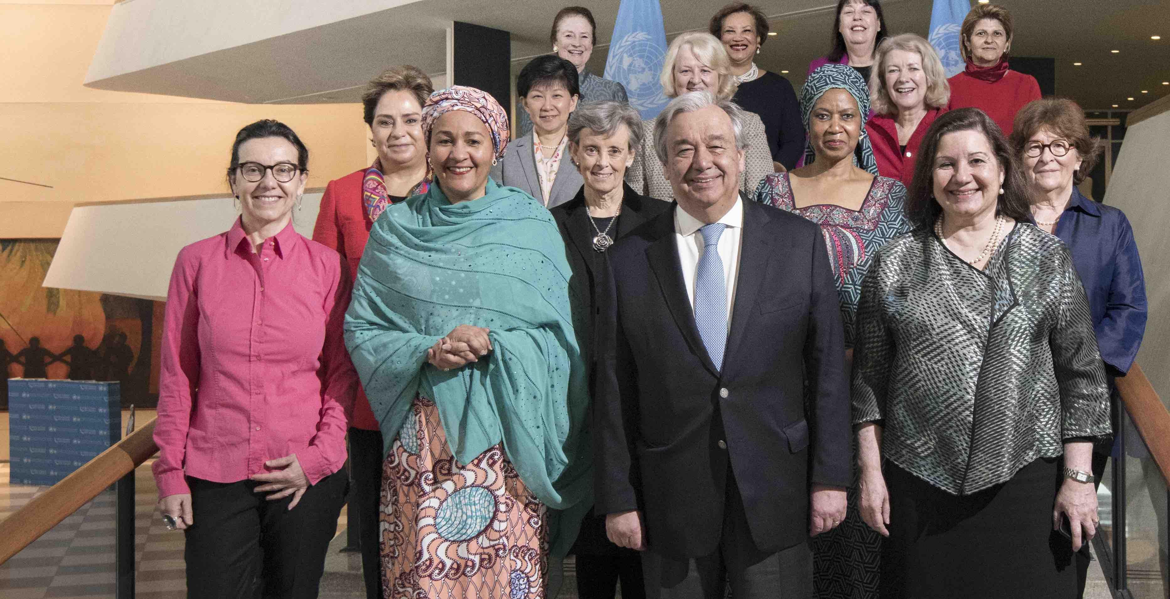 Women from the UN Secretariat leadership team with Secretary-General Antonio Guterres last month (Photo: UN Photo)