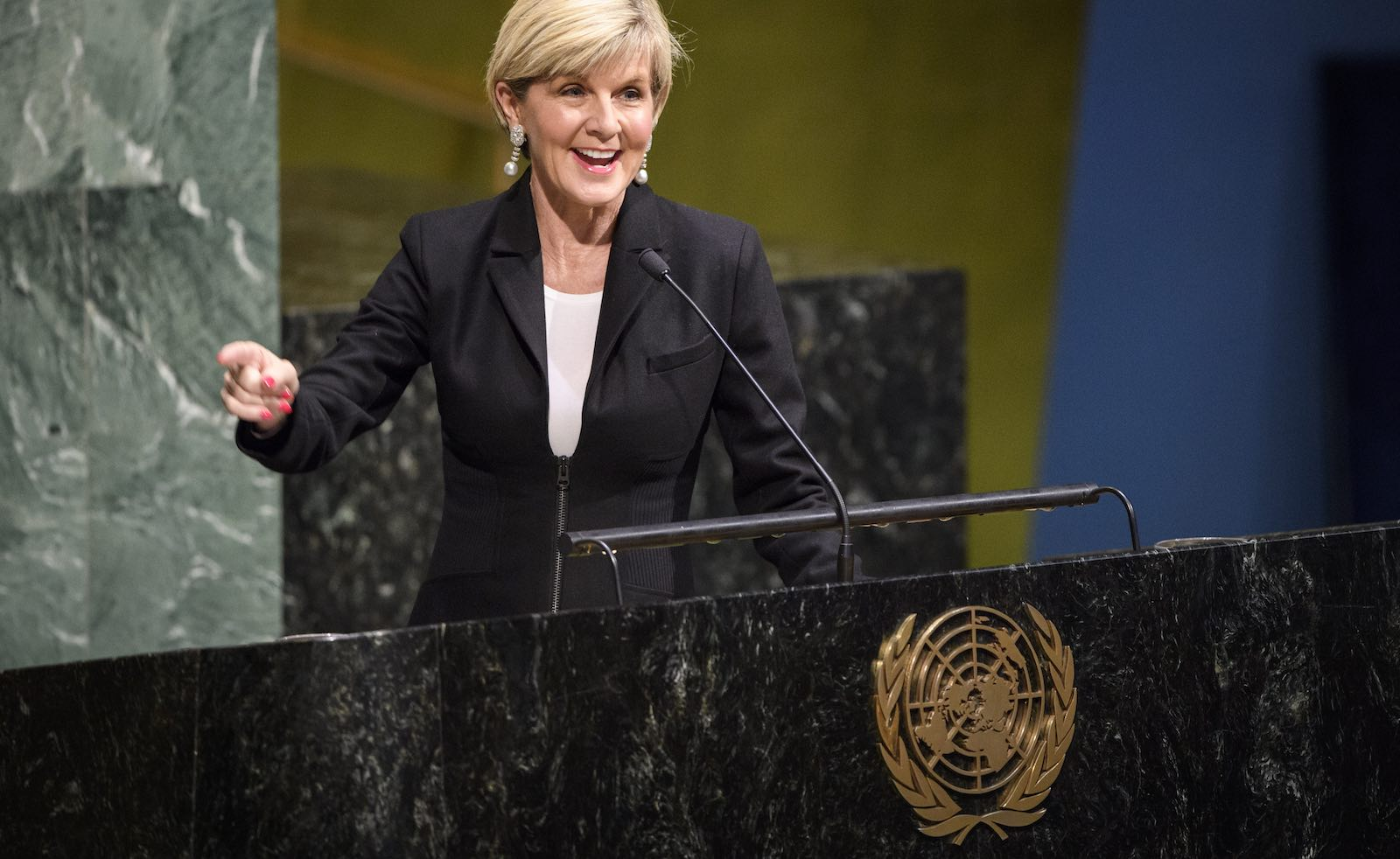 Julie Bishop, as Foreign Minister, speaking at UN headquarters in New York on International Women's Day 2018 (Photo: Manuel Elias/UN)