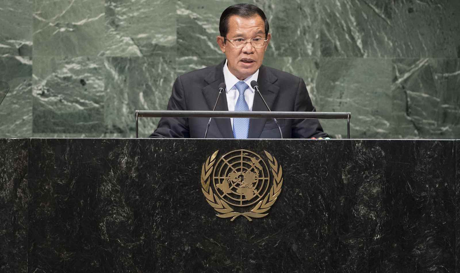 Cambodian Prime Minister Hun Sen at the UN General Assembly on 28 September, 2018 (Photo: Kim Haughton/UN Photo)