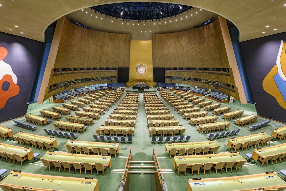 The General Assembly Hall at UN Headquarters in New York