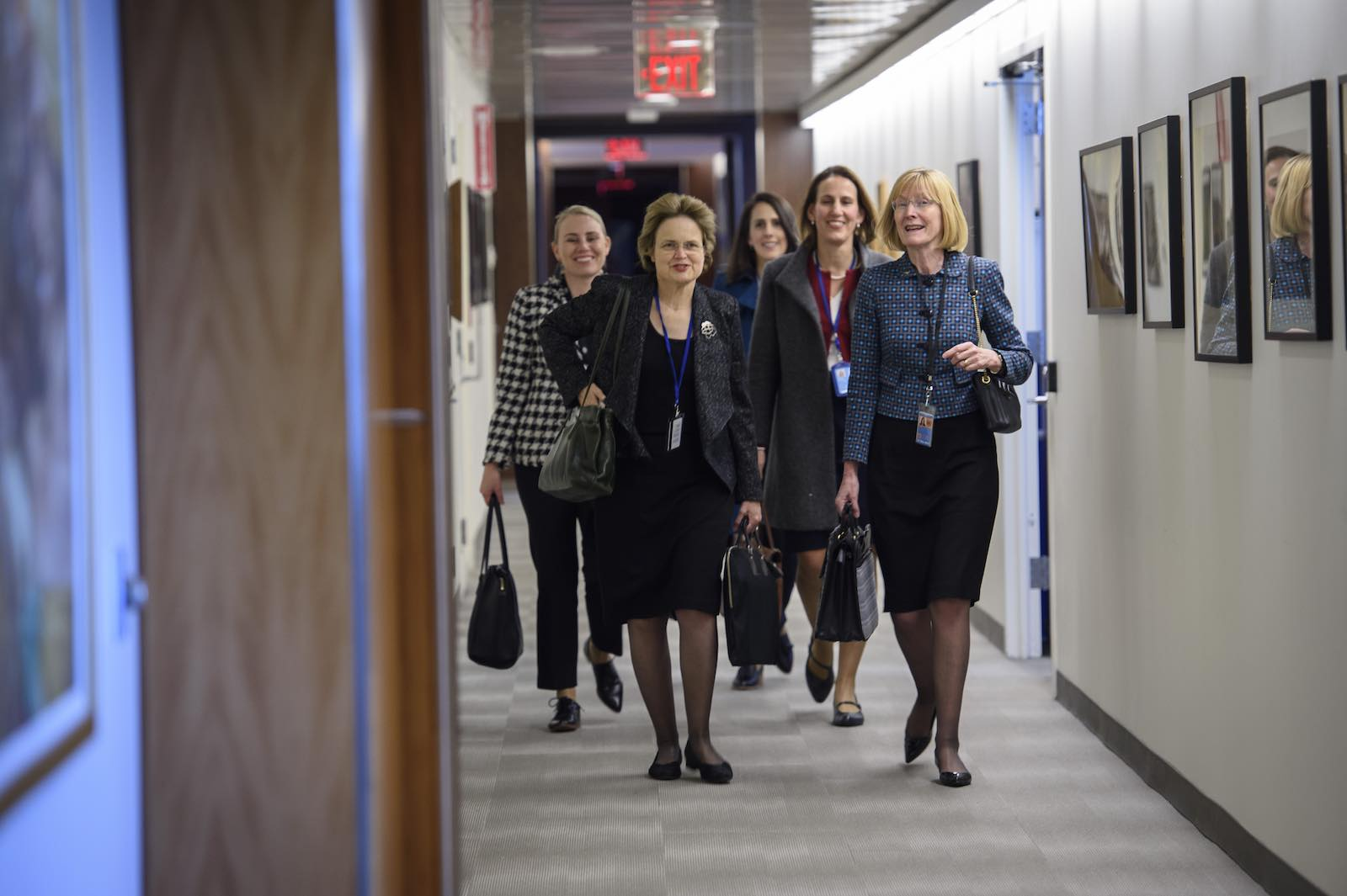 Frances Adamson (front left), Secretary of Australia's Department of Foreign Affairs and Trade, alongside Australia's permanent representative to the UN Gillian Bird, at UN headquarters in March (Photo: Loey Felipe/United Nations)