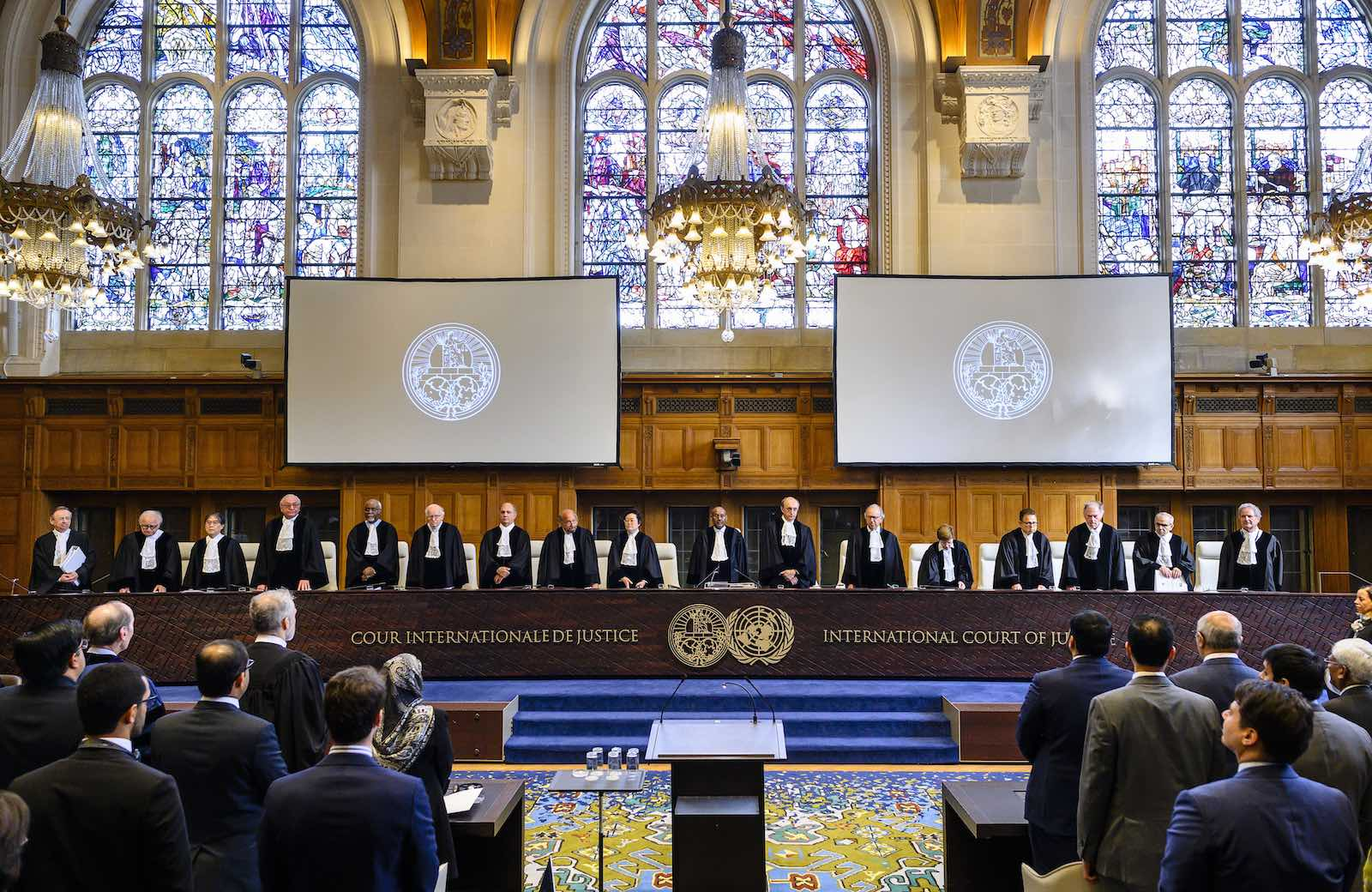 The International Court of Justice at The Hague during proceedings in May involving Qatar versus United Arab Emirates (Photo: Frank van Beek/United Nations)