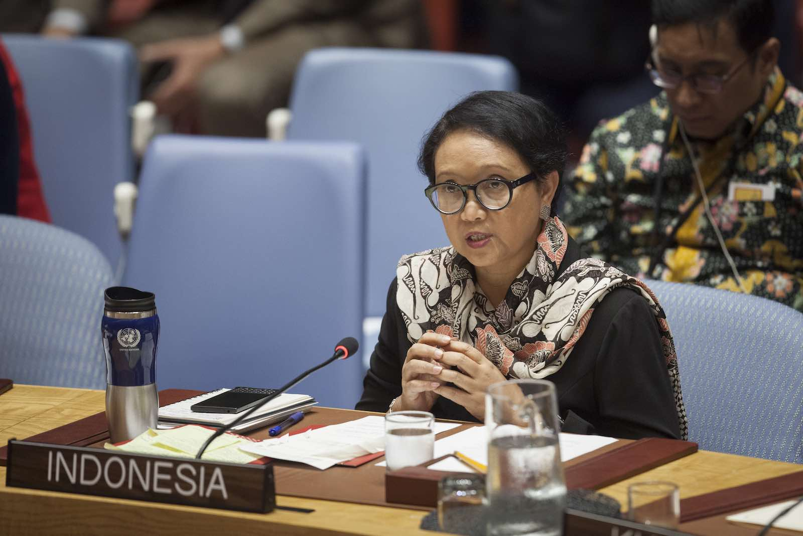 Indonesia's Foreign Minister Retno Marsudi addresses the Security Council last year (Ariana Lindquist/UN Photo)