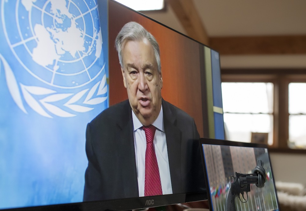 UN Secretary-General António Guterres holds a virtual press conference on the call for a global ceasefire during the Covid-19 pandemic, 3 April (Mark Garten/UN Photo)