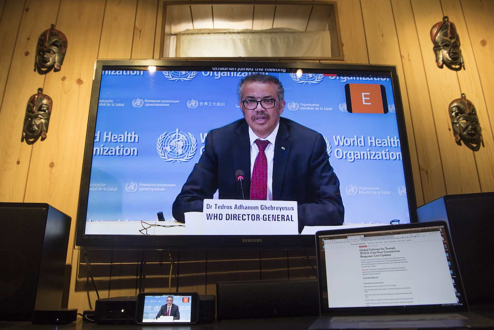 Tedros Adhanom Ghebreyesus, Director-General of the World Health Organisation, holds a virtual briefing on the Covid-19 pandemic in Geneva (Eskinder Debebe/UN Photo)