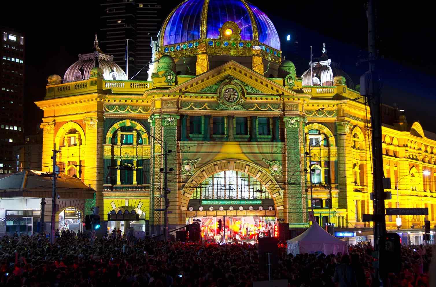 White Night arts festival at Flinders Street Station, Melbourne (Photo: Steve Collis/Flickr)
