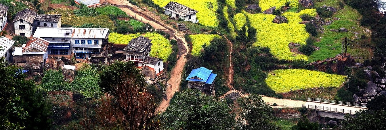 Salme Village in Nepal with a bridge financed by the Asian Development Bank to the right (Photo: Flickr/ADB)
