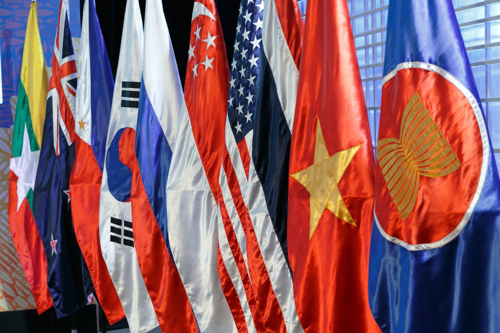 ASEAN flags at a meeting of ASEAN officials in Manila, Philippines (Photo: Vadim Savitsky\via Getty)