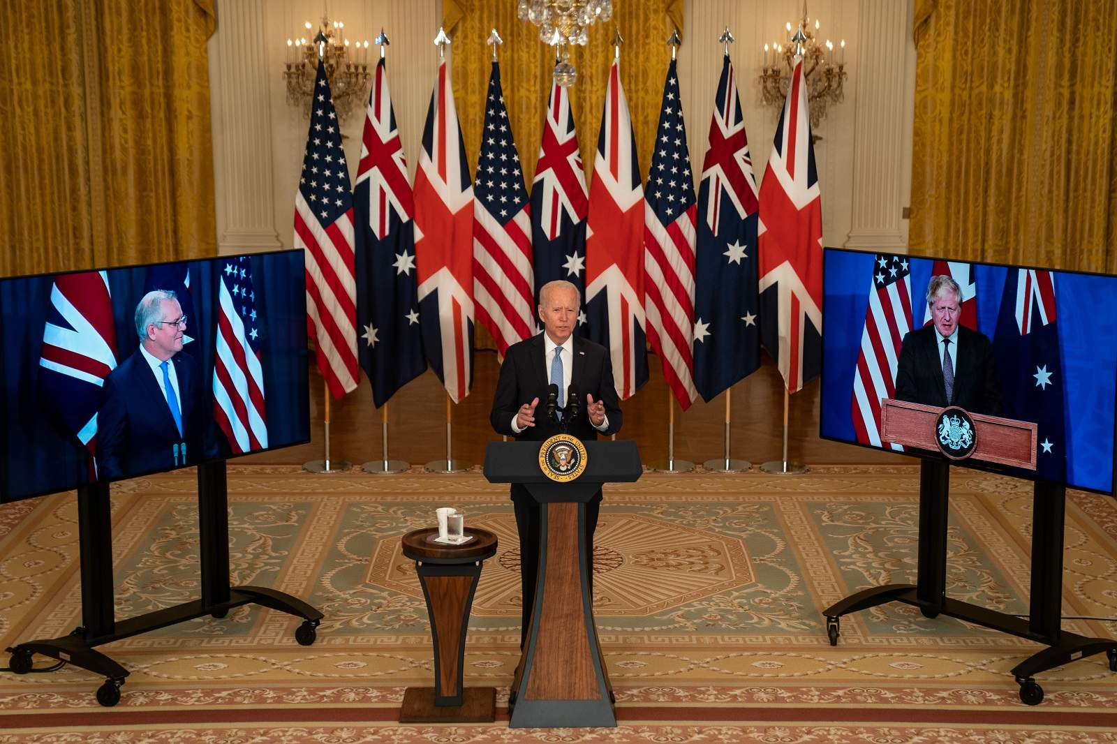President Joe Biden and Prime Ministers Scott Morrison and Boris Johnson announce the AUKUS alliance, Washington, DC, 15 September 2021 (Kent Nishimura/Los Angeles Times via Getty Images)