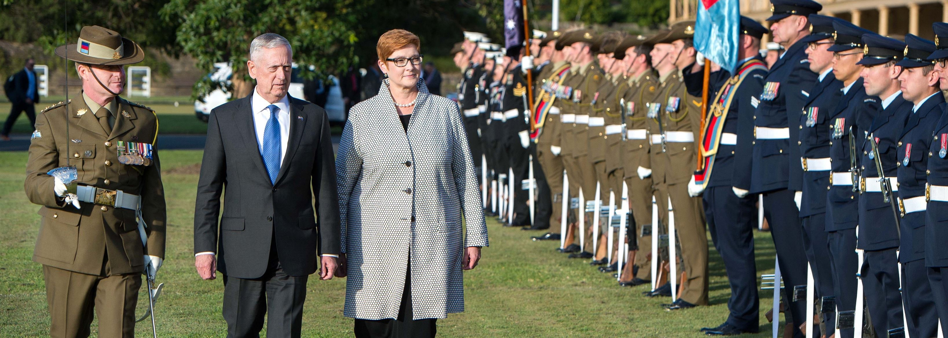 The American and Australian Defence Minsters review the troops at Victoria Barracks in Sydney on Monday (Photo: US DoD)