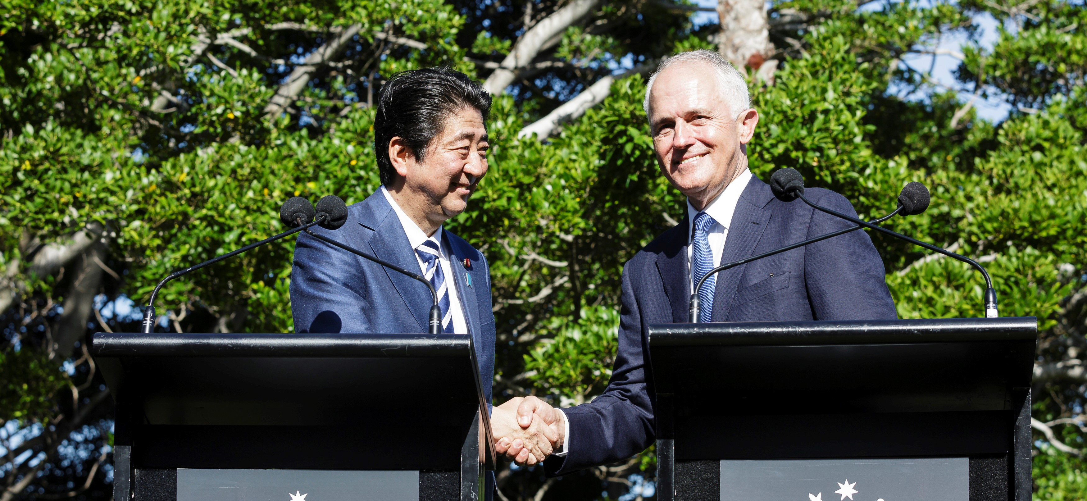 Japanese Prime Minister Shinzo Abe and Australian PM Malcom Turnbull in Sydney in January. (Photo: Brook Mitchell/Getty Images)