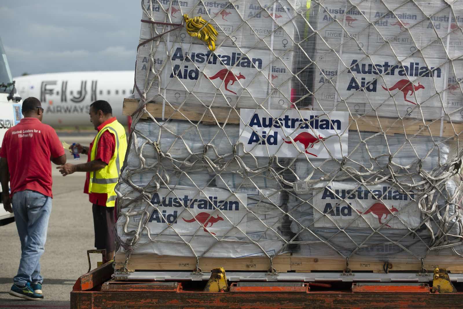 Offloading Australian humanitarian aid stores at Nadi airport, Fiji, in April (Department of Defence)
