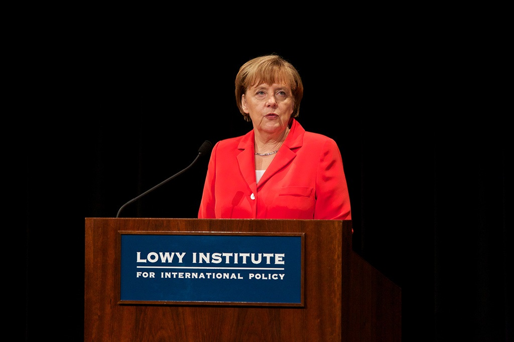 German Chancellor Angela Merkel speaks at the Lowy Institute for International Policy, Sydney, 17 November 2014 (Lisa Maree Williams/Getty Images)