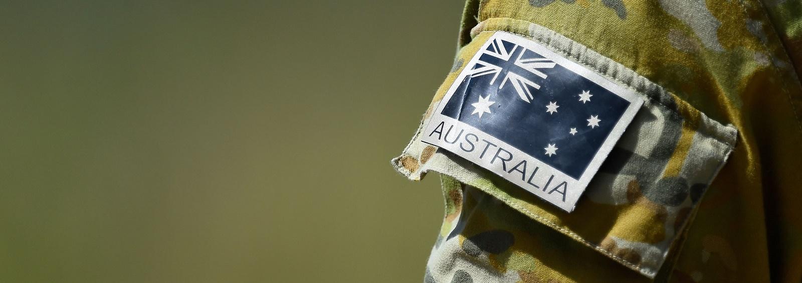 Australian flag patch worn by an Australian RAAF member (Photo: Ian Hitchcock/Getty Images)