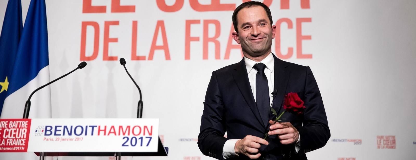 Socialist party candidate for the 2017 French presidential election Benoit Hamon (Photo by Vincent Isore/IP3/Getty Images)