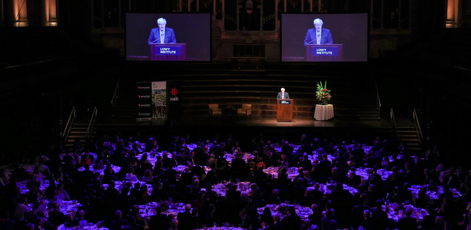 UK Foreign Secretary Boris Johnson delivers the 2017 Lowy Lecture (Photo:Brendon Thorne/Getty Images)