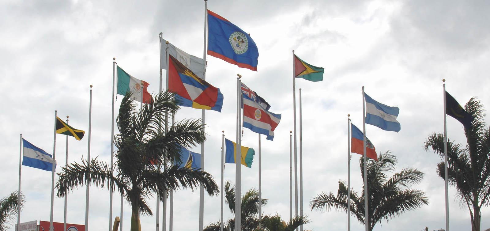 CARICOM flags, Belize (Wikimedia Commons)