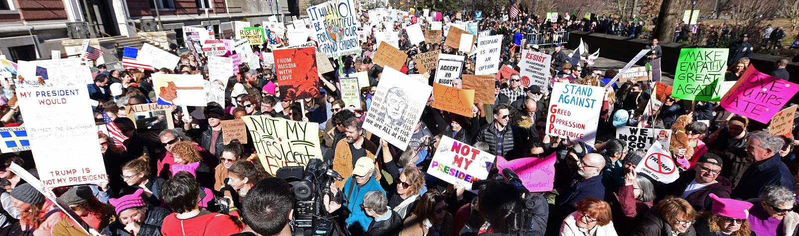 Protestors at a Not My President Day event In New York on 20 February (Photo: Andy Katz/Getty Images)