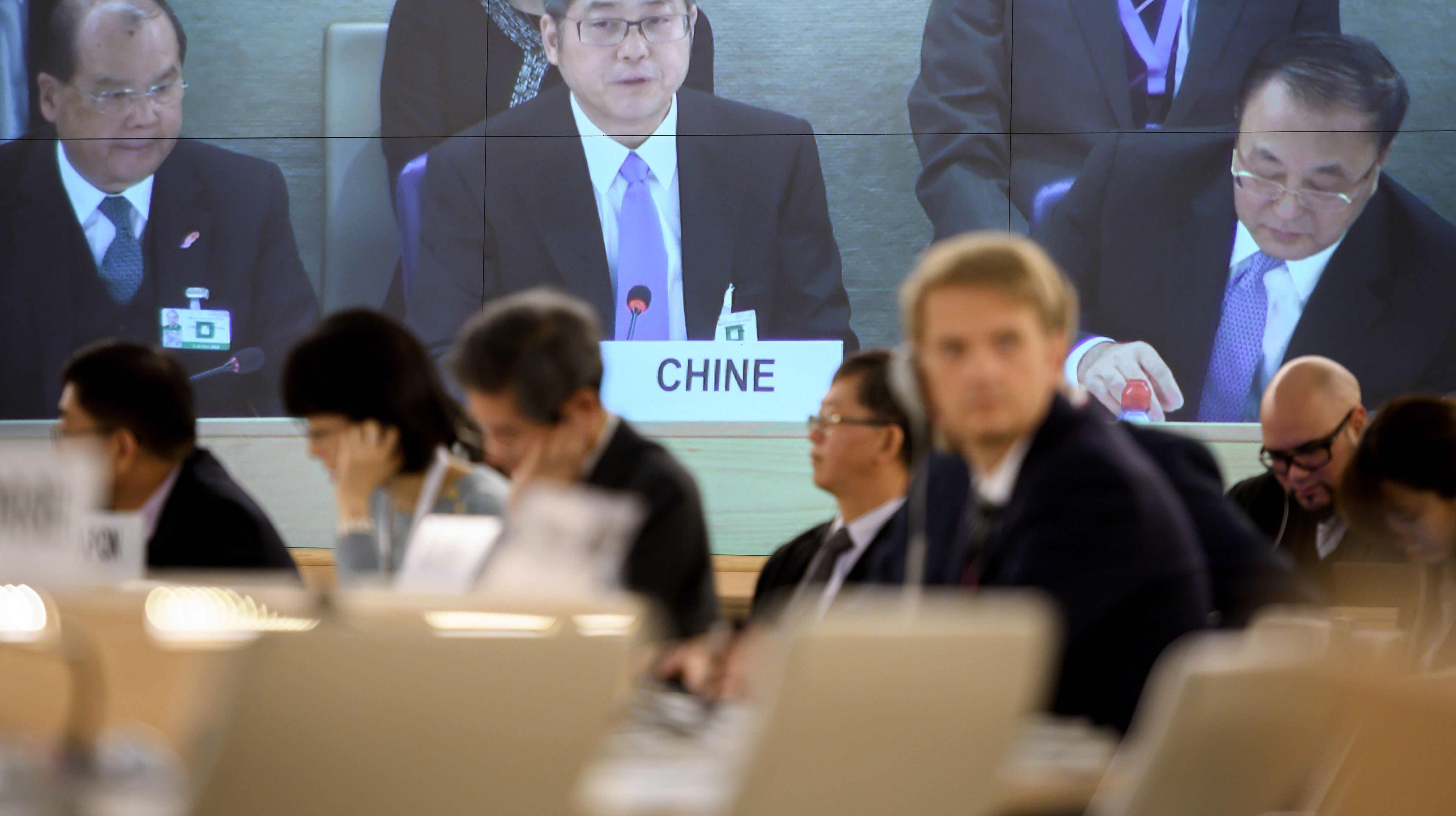 Chinese Vice Minister of Foreign Affairs Le Yucheng delivers a speech before the UN Human Rights Council prior to the Universal Periodic Review of China in Geneva (Getty/Fabrice Coffrini)