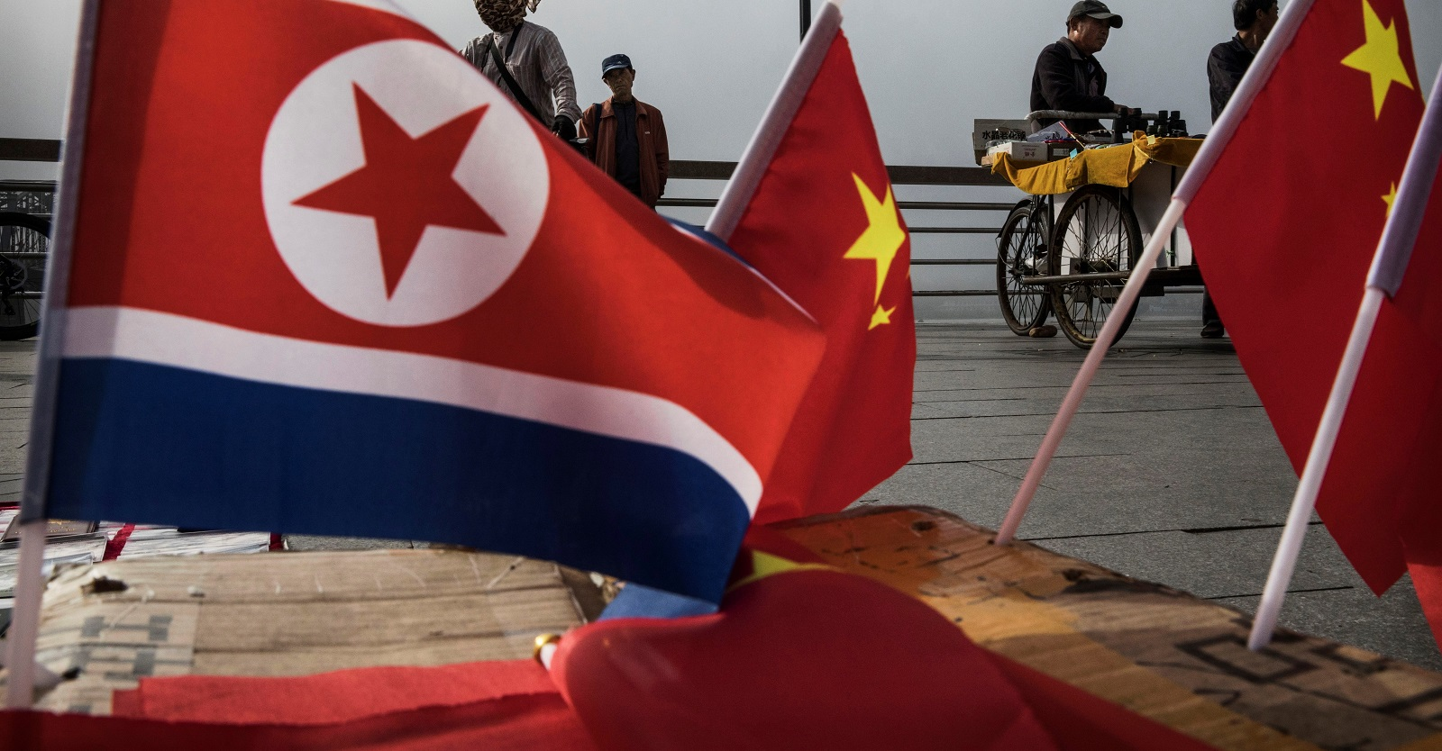 North Korea and China flags for sale in the border city of Dandong in northern China (Photo: Kevin Frayer/Getty Images)