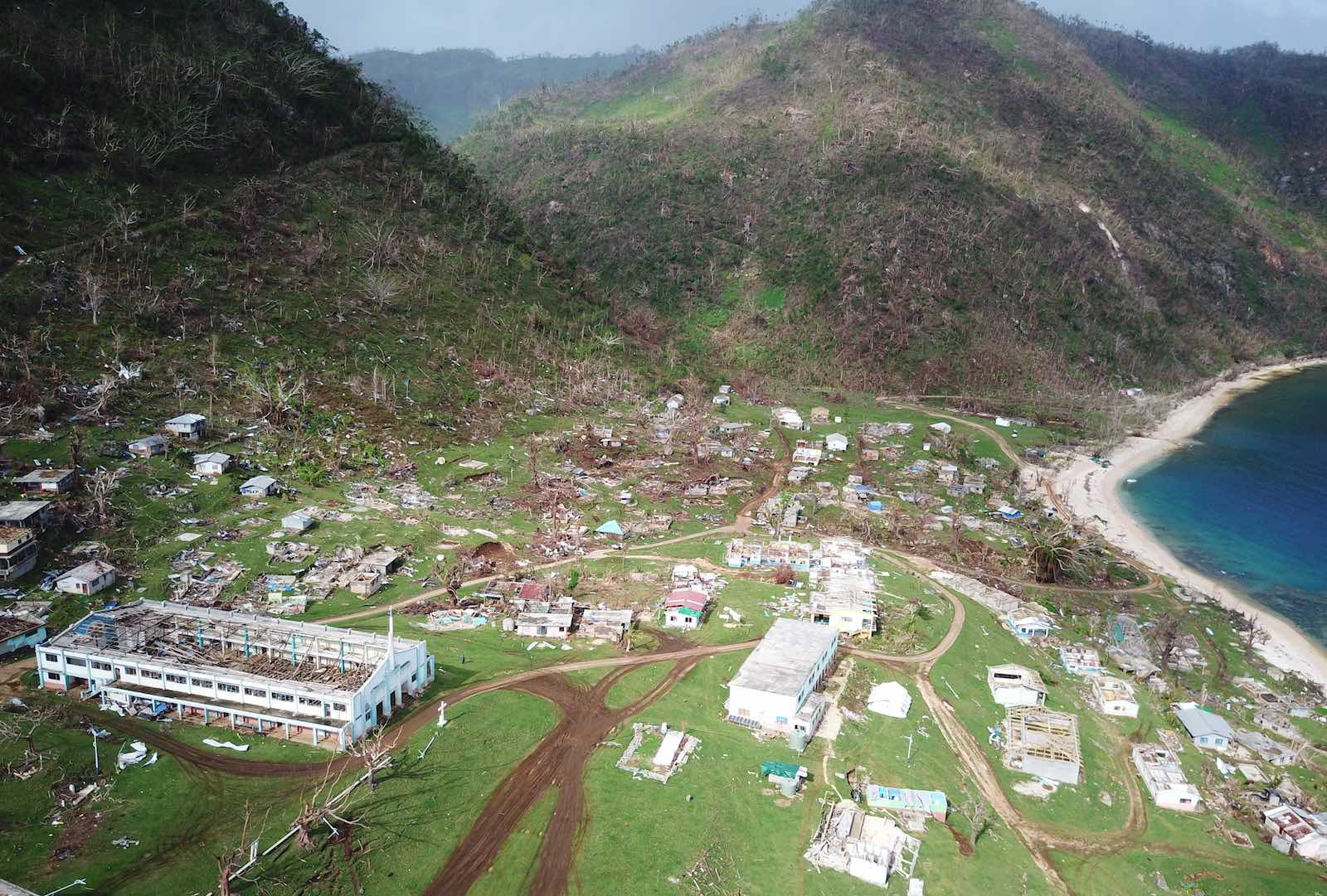 Aftermath of Cyclone Harold in Melsisi settlement, Pentecost Island, Vanuatu (Ginny Stein/RedR/NDMO Vanuatu)