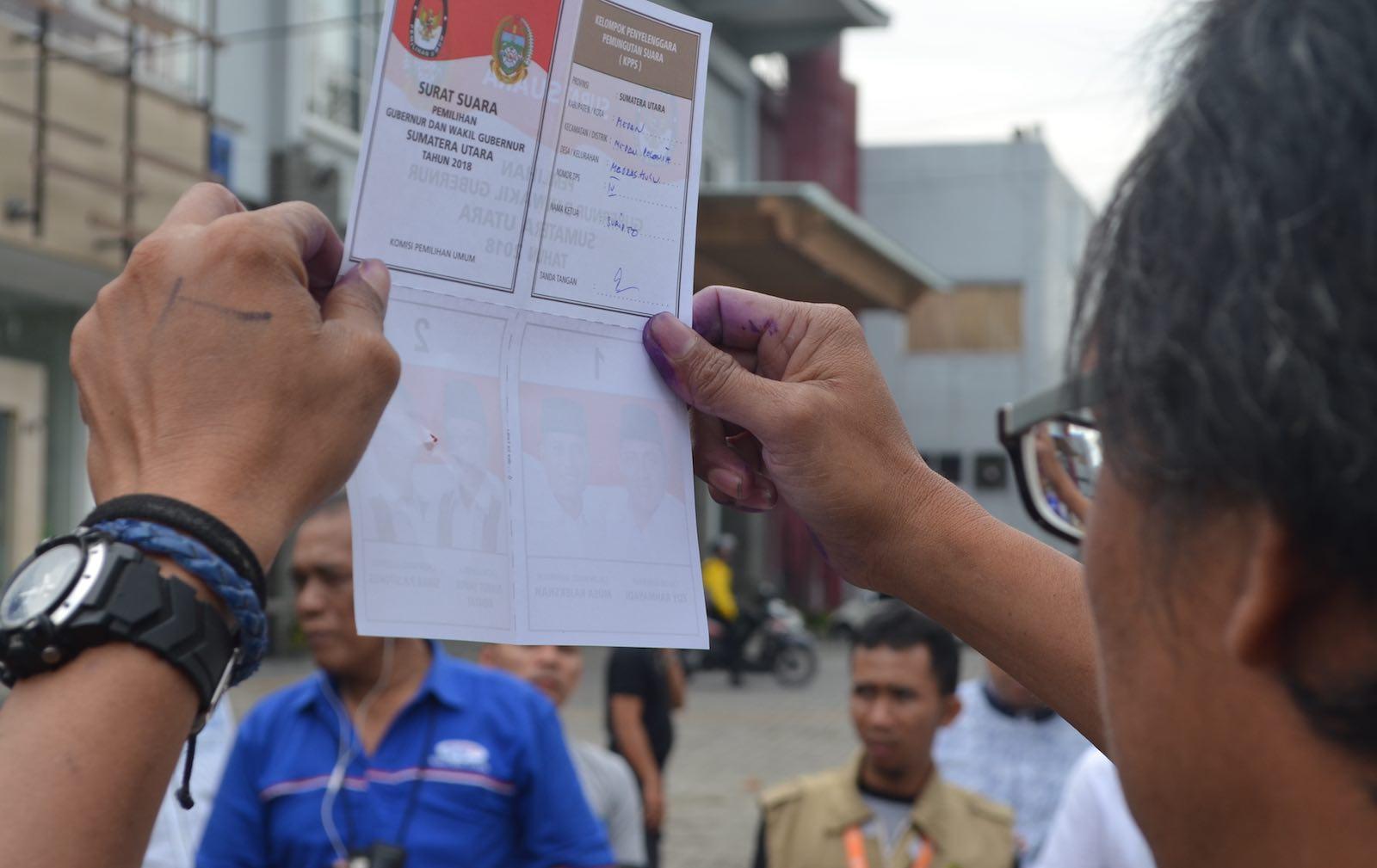 Madras Hulu polling station in Medan on 27 June (Photo: Teguh Harahap)