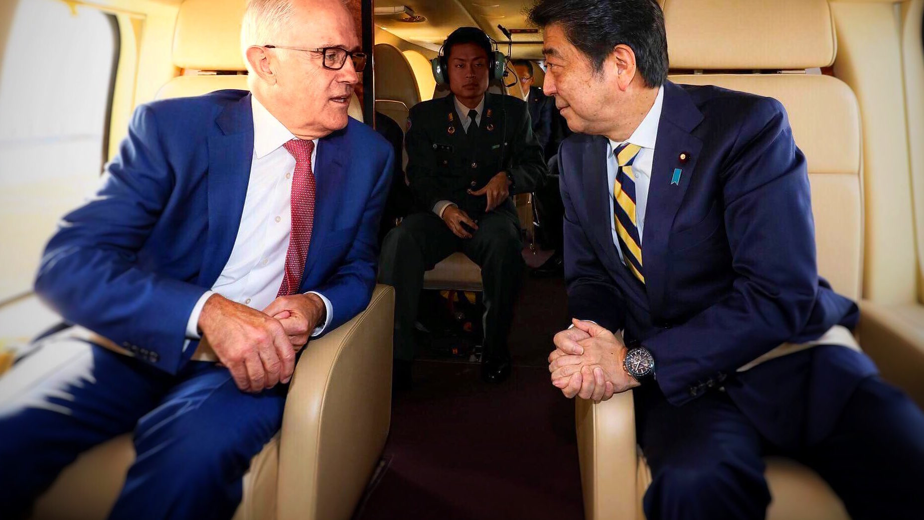 Malcolm Turnbull last week with his Japanese counterpart Shinzo Abe (Photo: Shinzo Abe/Twitter)