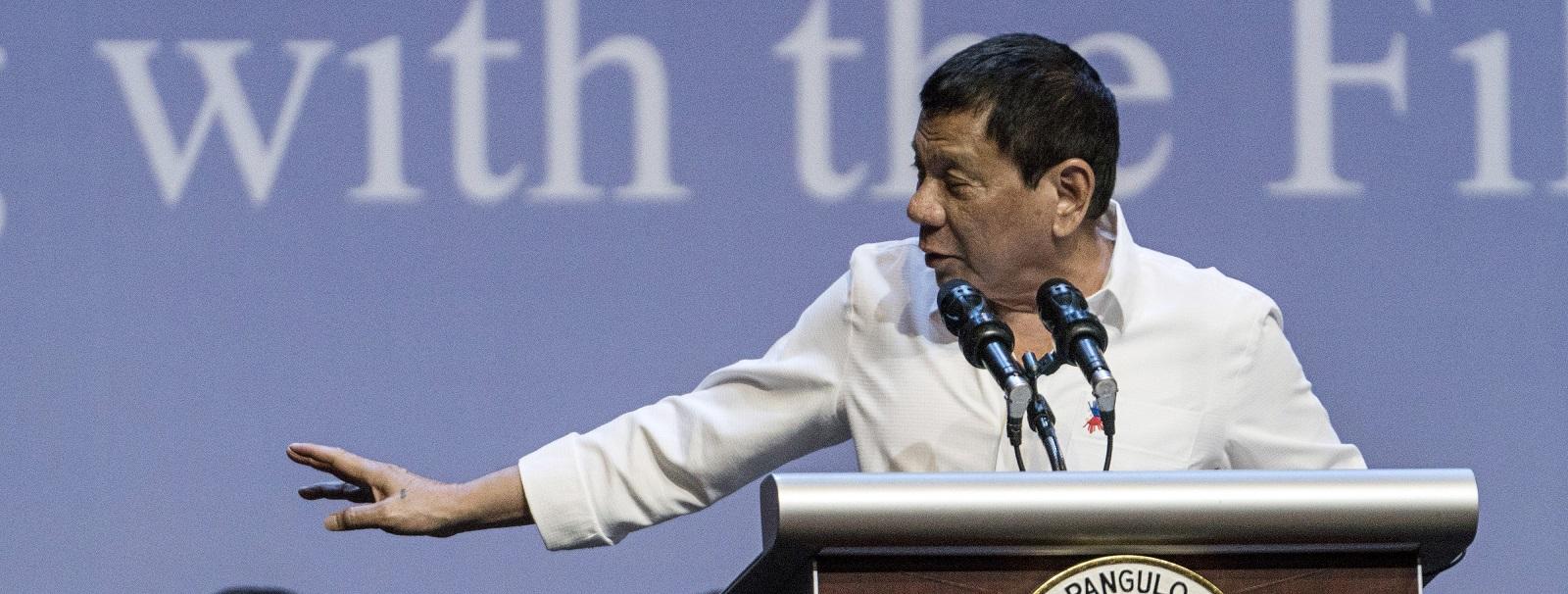 Rodrigo Duterte in Singapore on 16 December (Photo: Bryan van der Beek/Getty Images)