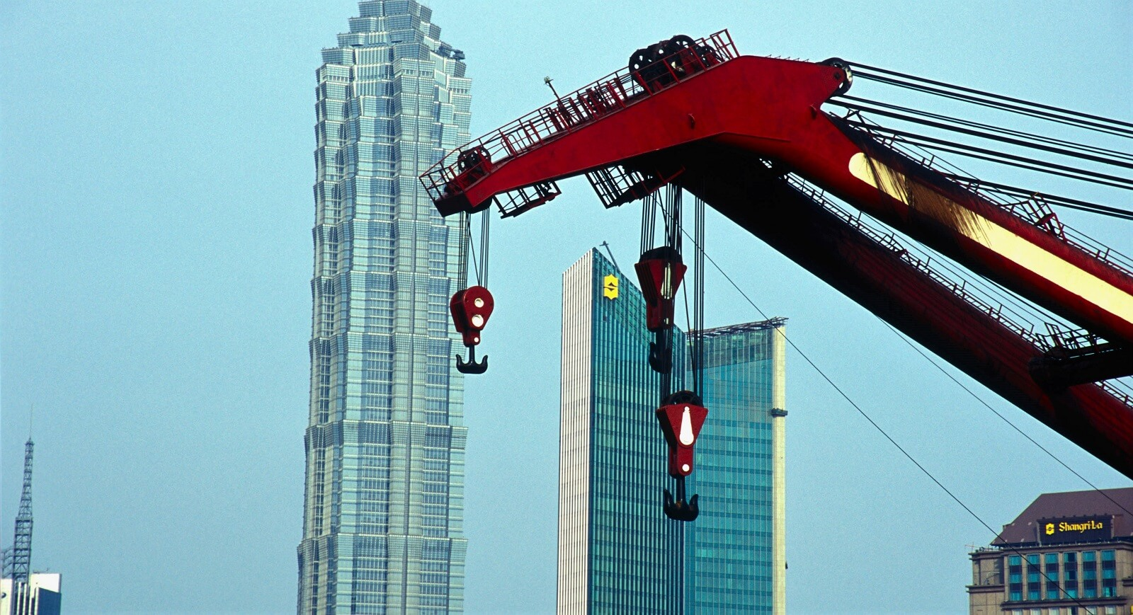 Jinmao Tower with crane, Shanghai, China (Photo: Liqun Liu via Getty)