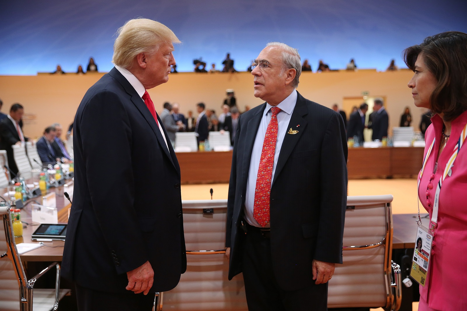 US President Donald Trump with OECD Secretary-General Angel Gurria at the G20 leaders meeting in Hamburg on 8 July. (Photo by Sean Gallup/Getty Images)