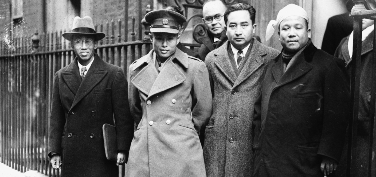 Burmese Vice President Aung San (second from left) with his delegation at 10 Downing Street on 13 January 1947 (Photo: Keystone/Hulton Archive/Getty Images)