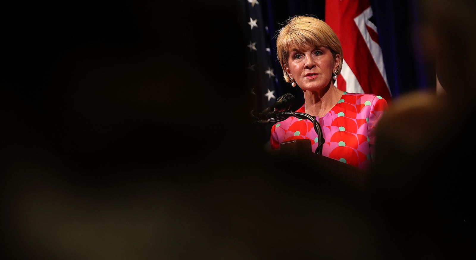 Julie Bishop at Stanford University, California, for the Australia-US Ministerial meeting in July (Photo: Justin Sullivan/Getty)