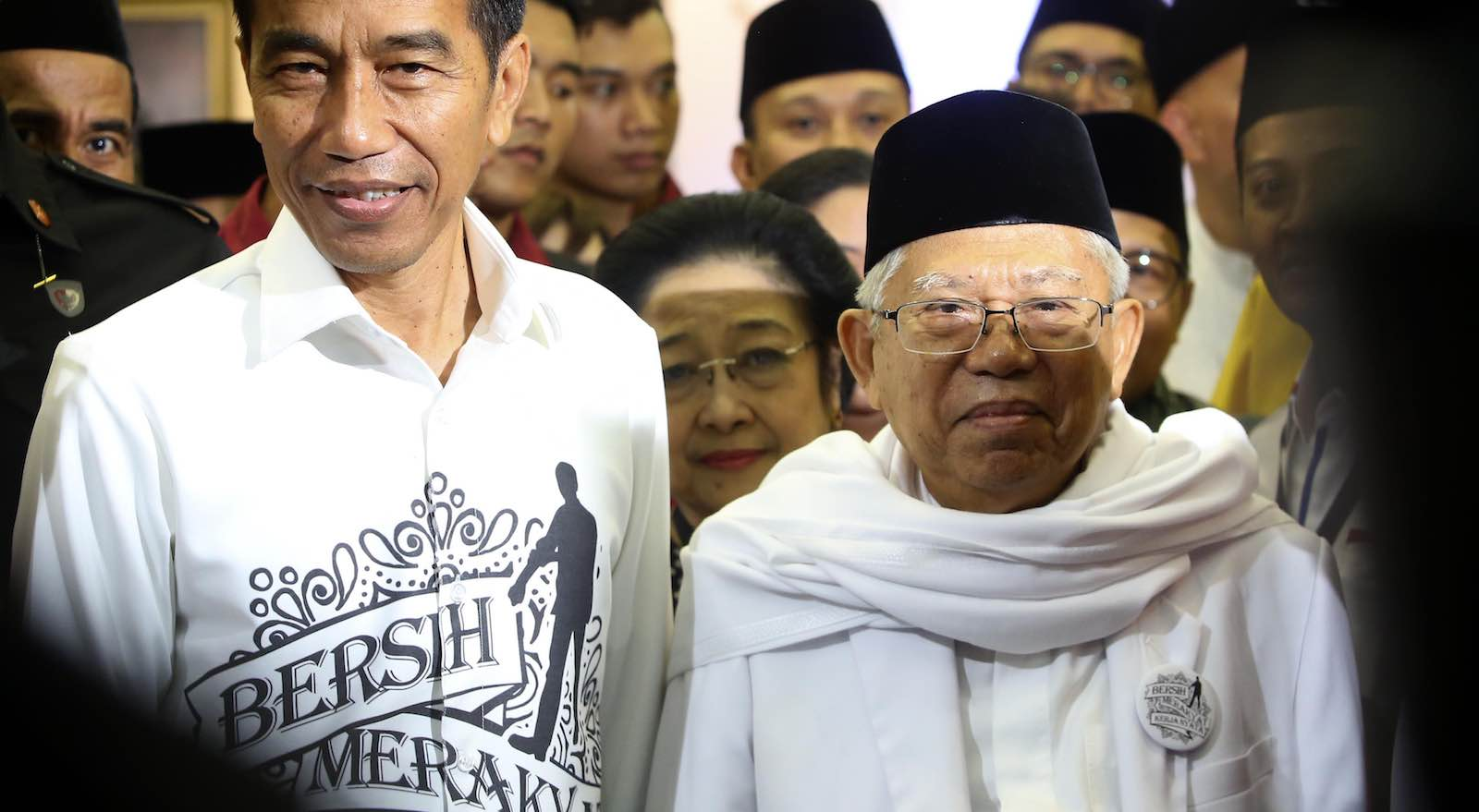 Indonesia's President Joko Widodo registers with Ma'ruf Amin as running mate for the April 2019 presidential contest, 10 August (Photo: Jefri Tarigan via Getty)