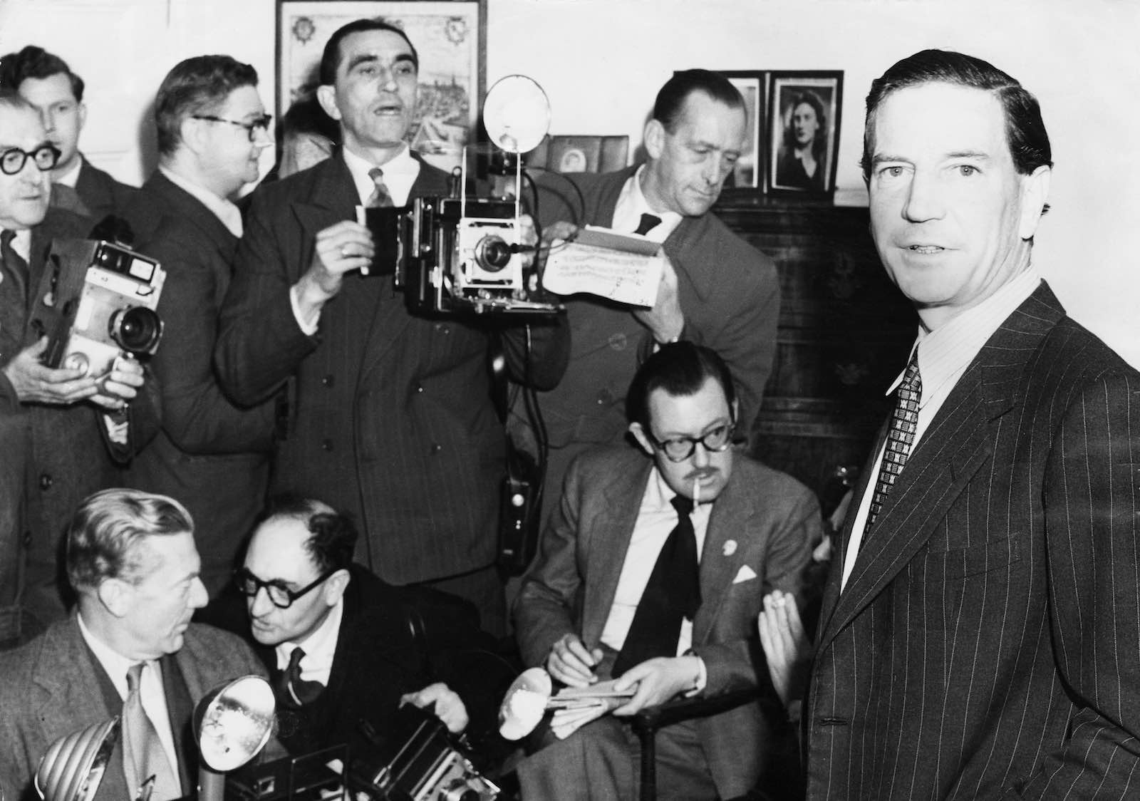 Kim Philby, later revealed as one of the Cambridge Five spy ring, holds a press conference at his mother's home in 1955 after his name had been mentioned in connection with the the Burgess and Maclean affair (Photo: Hulton Archive/Getty)