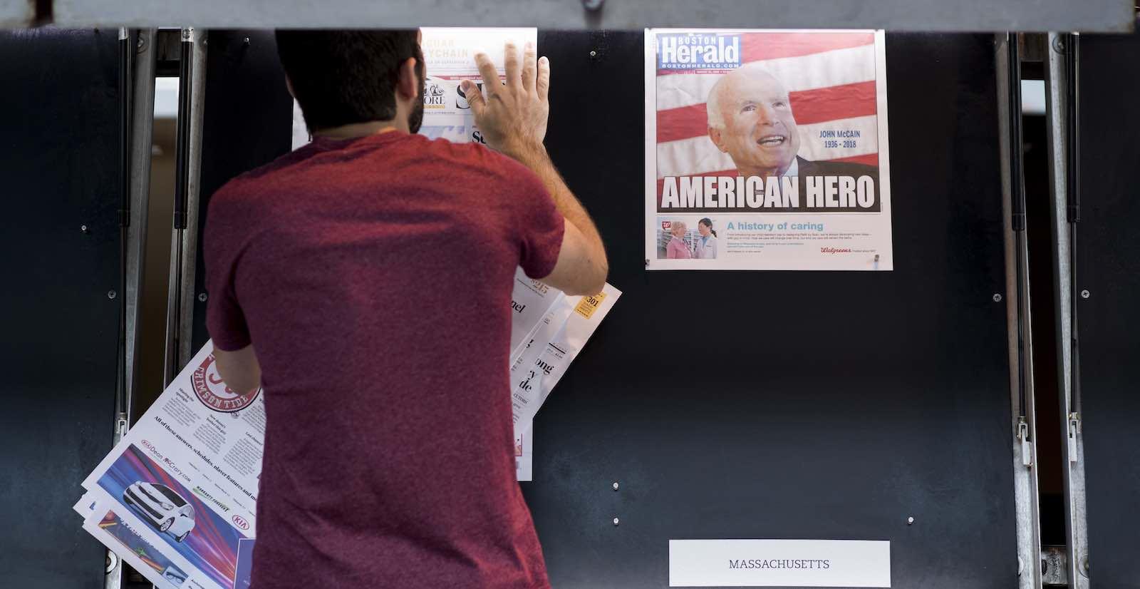 Front pages following Senator John McCain's passing (Photo: Bill Clark via Getty)