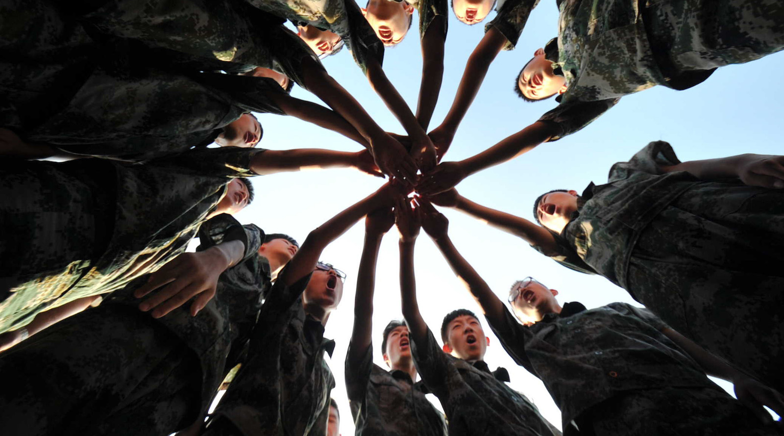 High school students cheer at a military camp in Shanxi Province, China (Photo: VCG via Getty)