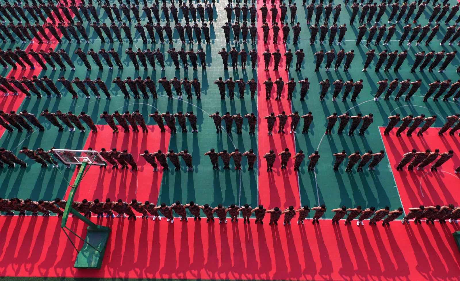 New high school students undertake a 10-day military training course at the beginning of term (Photo: VCG via Getty)