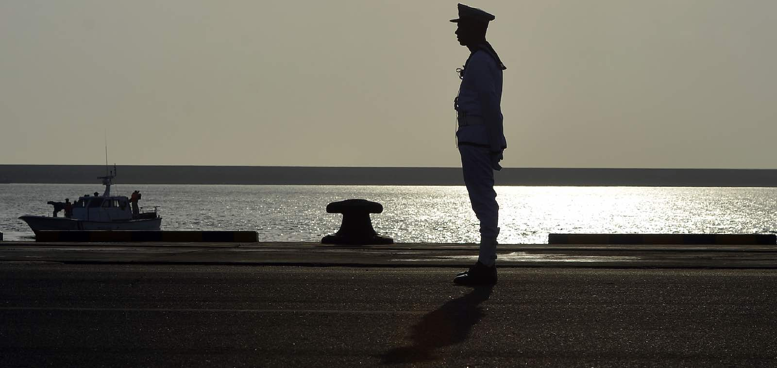 A Sri Lankan sailor stands guard during a ceremony last month commissioning two naval patrol boats Japan  (Photo: Lakruwan Wanniarachchi via Getty)