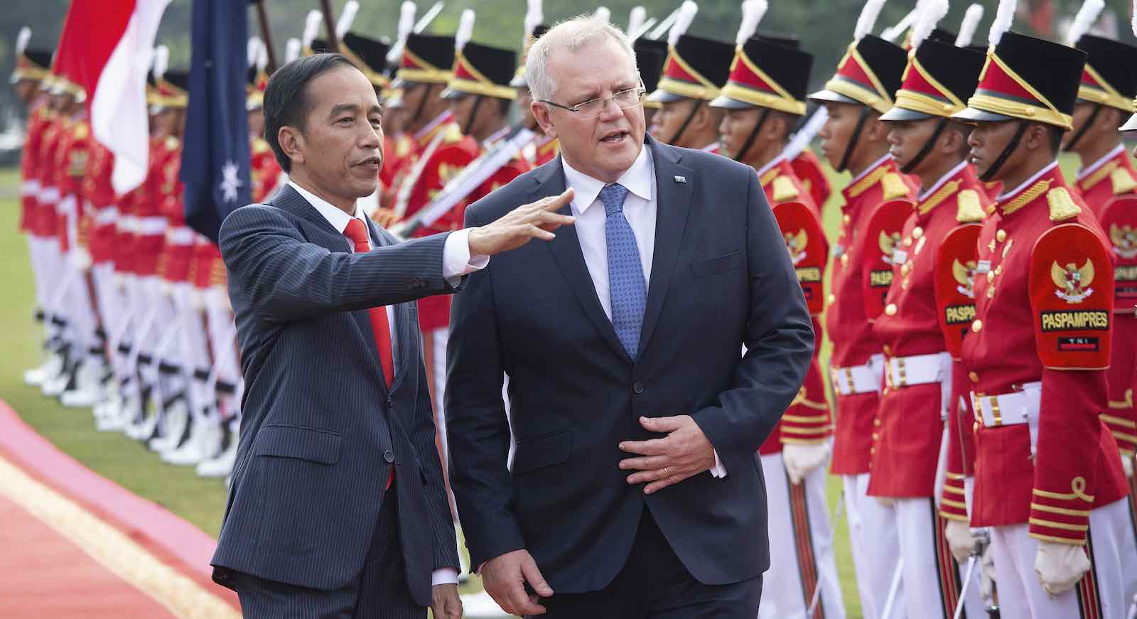 Scott Morrison, on his first overseas trip as Prime Minister, with Indonesian President Joko Widodo in Bogor, Indonesia (Photo: Ed Wray/Getty)