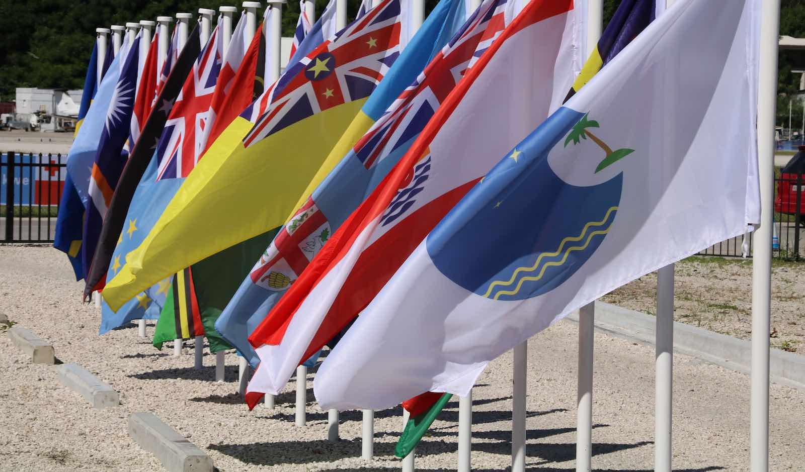 Flags of the Pacific Island Forum members (Photo: Mike Leyral via Getty)