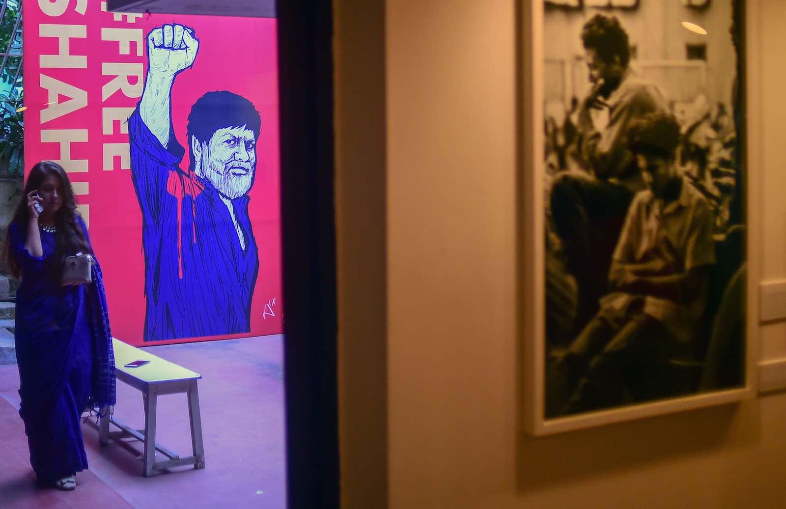 "An exhibition ""A Struggle for Democracy"" featuring photographs by imprisoned photojournalist Shahidul Alam in Dhaka, 10 September 2018 (Photo: Munir Uz Zaman via Getty)"