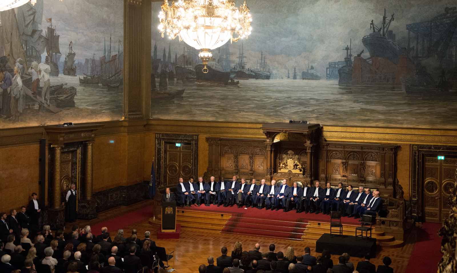 Ceremony for the 20th anniversary of the International Tribunal for the Law of the Sea in Hamburg, Germany, 7 October 2016 (Daniel Reinhardt/picture alliance via Getty Images)