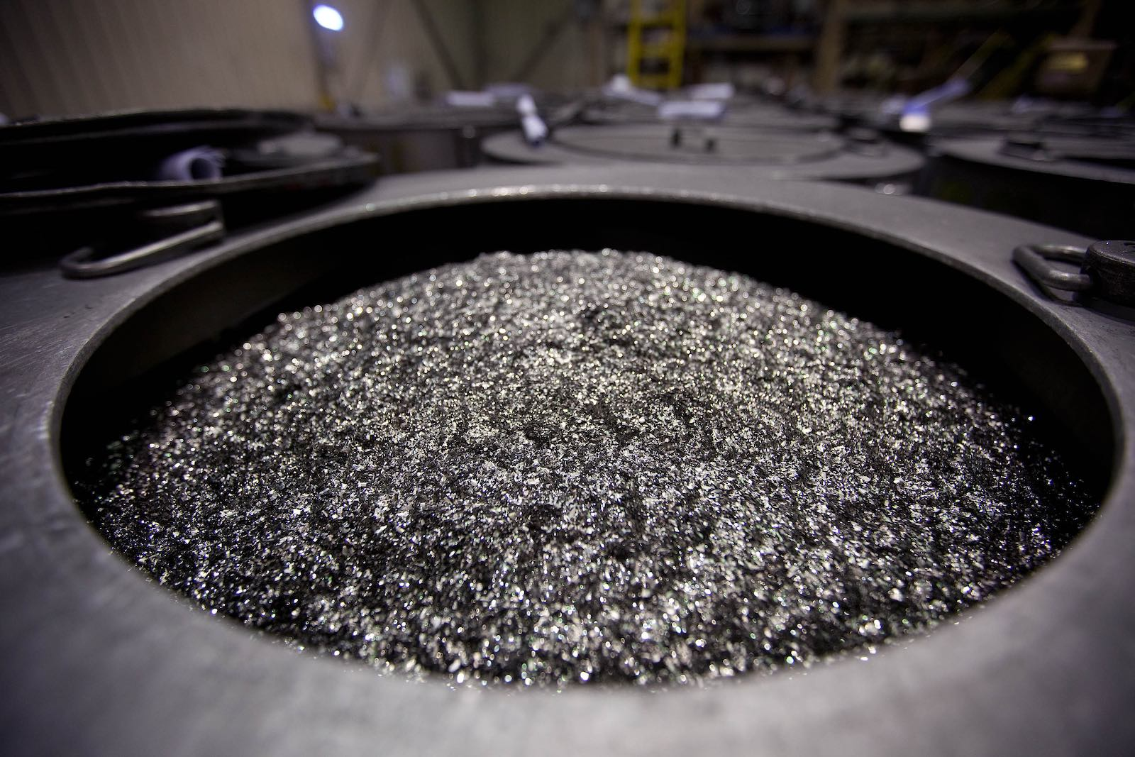 Neodymium magnets about to be crushed into powder at a factory in Tianjin, China (Photo: Doug Kanter via Getty)
