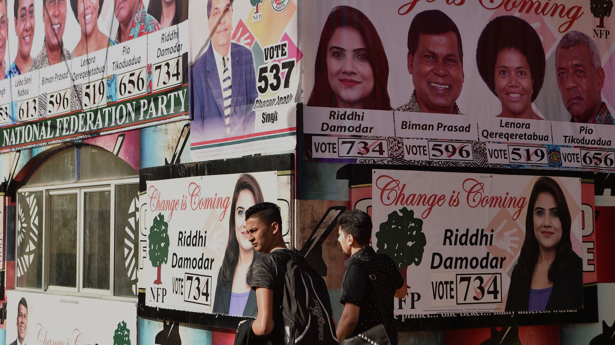 Election posters in the Fijian capital of Suva (Photo: Peter Parks via Getty)