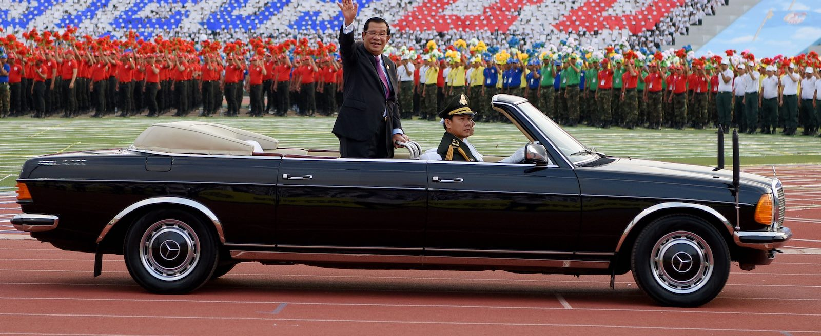Cambodia's Hun Sen at a 7 January ceremony to mark the 40th anniversary of the fall of the Khmer Rouge regime (Photo: Tang Chhin Sothy via Getty)