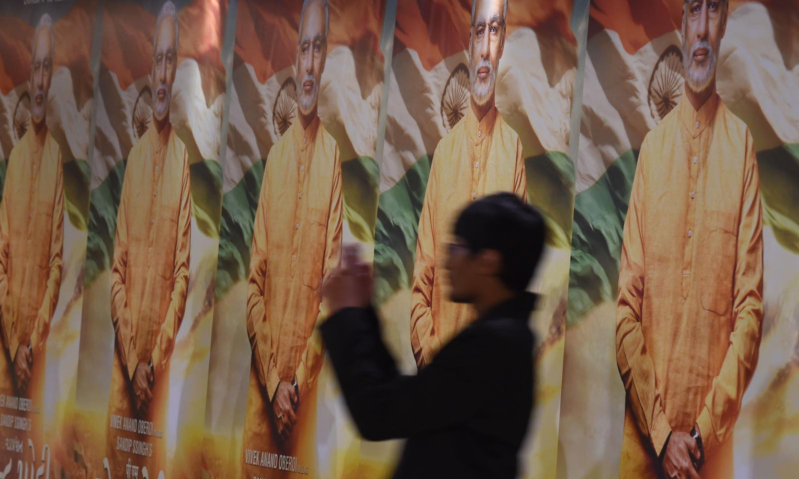 Poster displays for the forthcoming Modi biopic (Photo: Indranil Mukherjee via Getty)