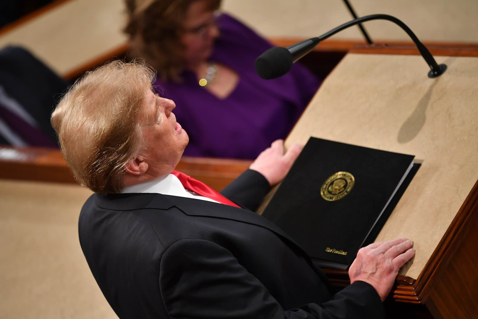 US President Donald Trump delivers the State of the Union address at the US Capitol in Washington DC (Photo by Mandel Ngan/AFP/Getty Images)