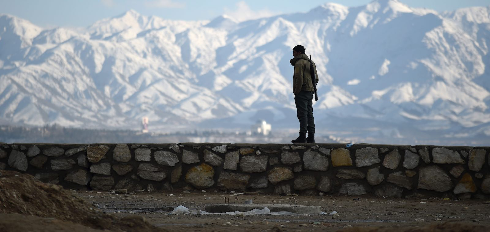 An Afghan policeman at Wazir Akbar Khan hilltop in Kabul in February (Photo: Wakil Kohsar via Getty)