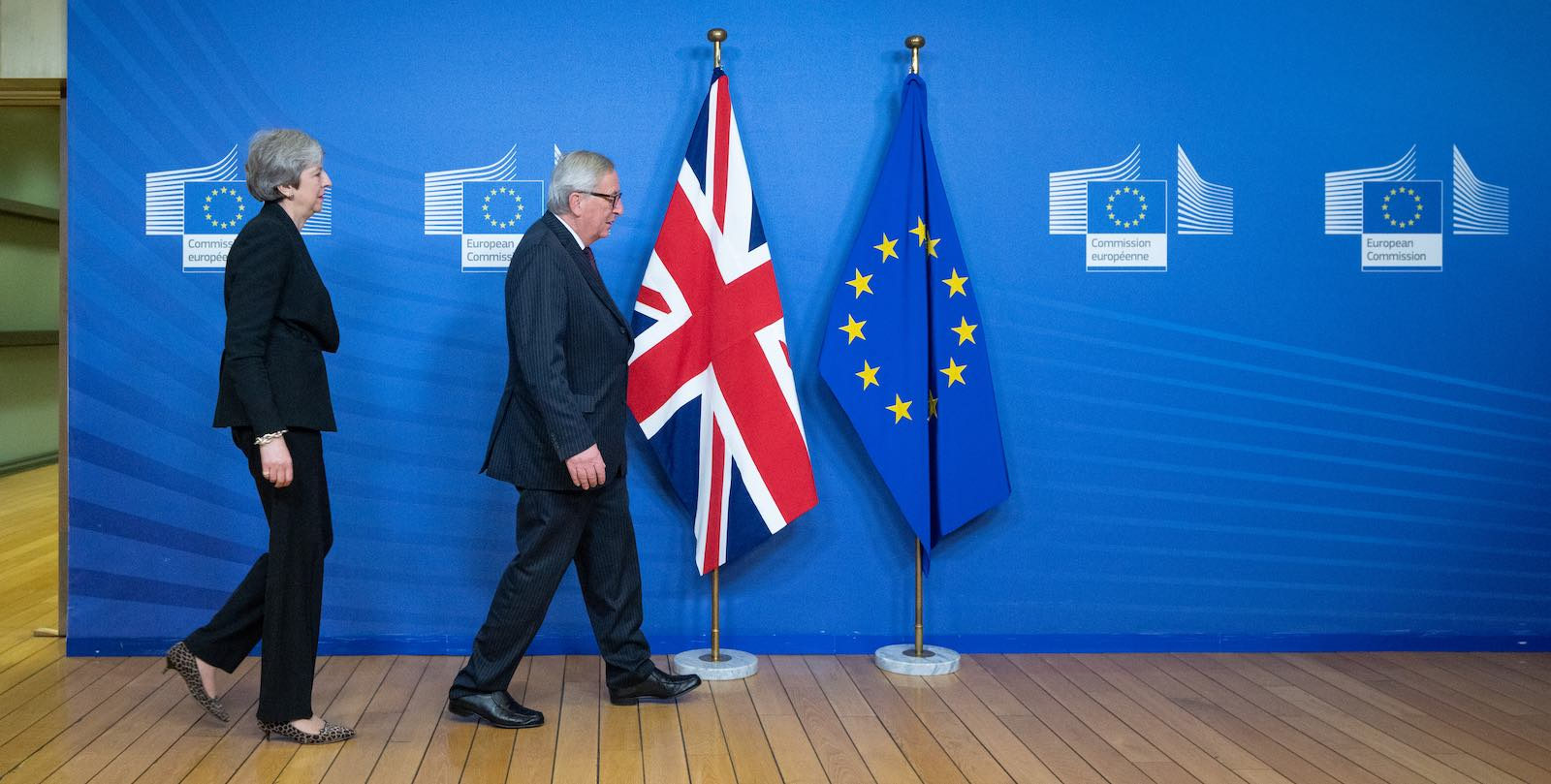 Britain's Theresa May and EU President Jean-Claude Juncker amid the long negotiations for Brexit (Photo: Jasper Juinen/Bloomberg via Getty)