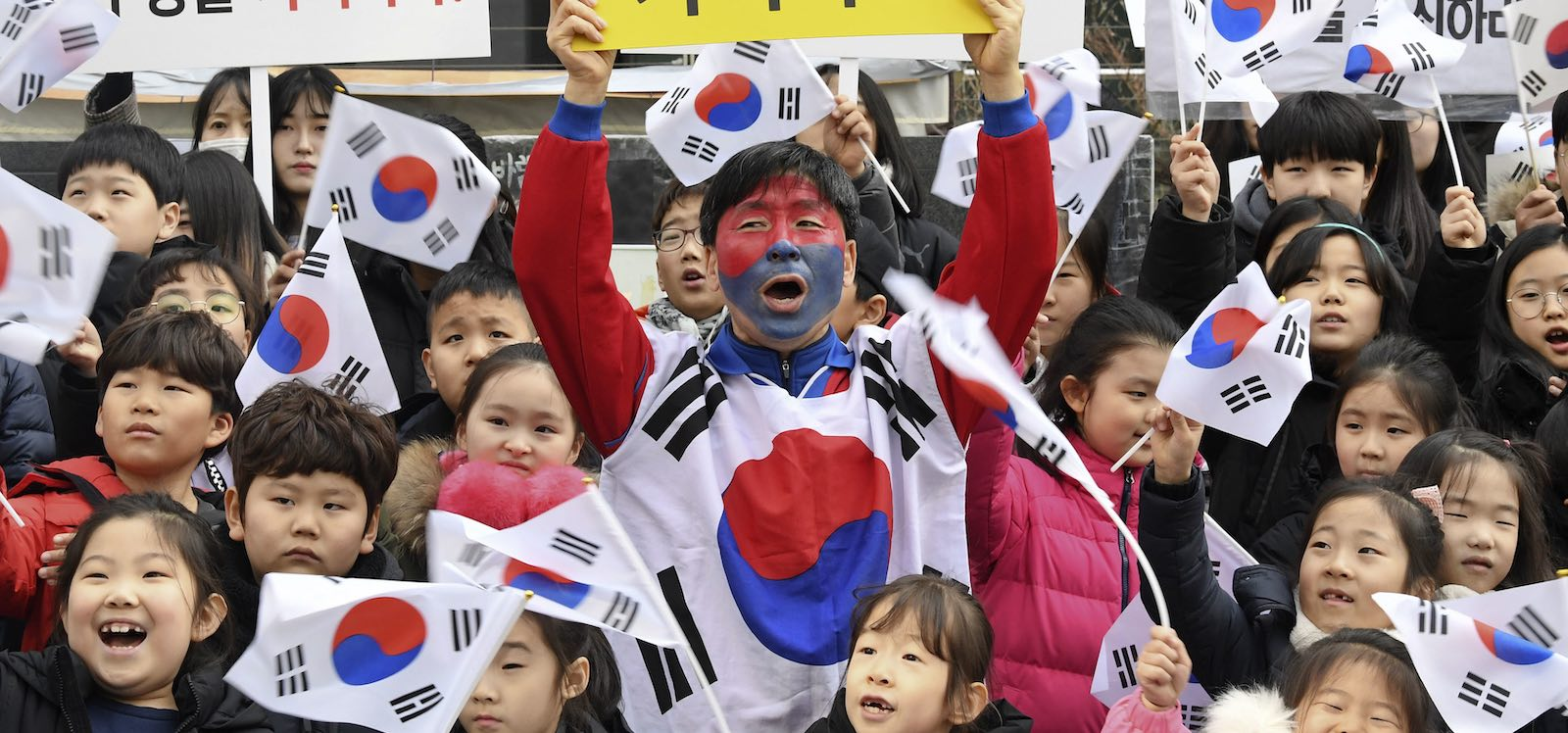 Demonstrations outside the Japanese embassy, Seoul, in February (Photo: Kyodo News via Getty)